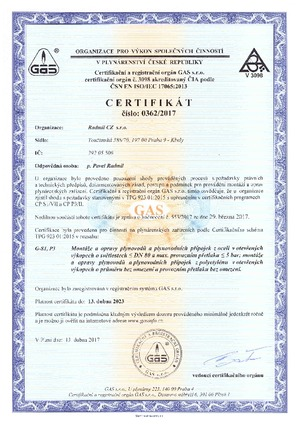 Certifikát GAS, platnost do 17.4.2023